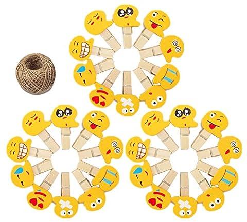 Lot de 30mini emoji en bois papier photo Peg Pin Pinces à linge Craft Pinces pour décoration de fête avec 4.5metre de ficelle