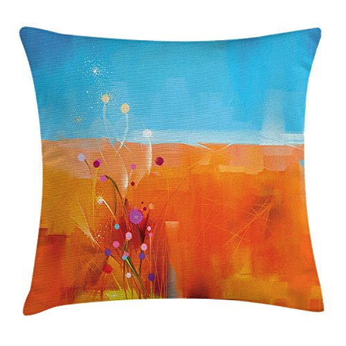Doormat-bag Watercolor Flower Home Decor Throw Pillow Cushion Cover, Meadows under Blue Sky Natural Beauty Floral Illustration, Decorative Square Accent Pillow Case,Orange Purple 18X18 inches (Natural Floral Blue)