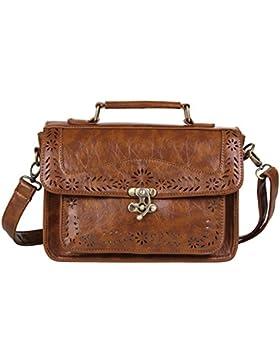 ECOSUSI Vintage Damen Handtasche Schultertasche Umhaengetasche