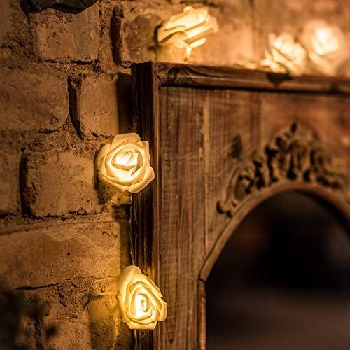 CozyHome LED Lichterkette Rosen weiß - 5m strombetrieben | 20 Blumen warmweiß | Rosenlichterkette Strom | Tumblr Deko für: Mädchen Schlafzimmer, Hochzeit, Schminktisch | Rose Lichterketten mit Stecker - Bar Home Dekor Und Zubehör