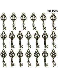 FENICAL Aleación de Forma Clave Colgantes encantos DIY Collar Pulsera Accesorio (Bronce) 20pcs