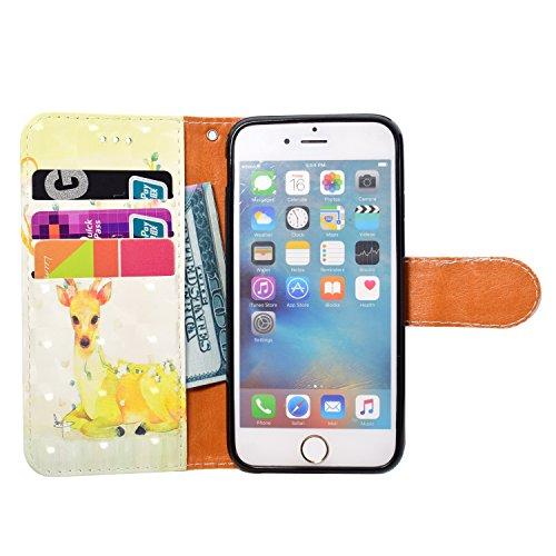 GrandEver iPhone 6 Plus/iPhone 6S Plus Hülle Glitzer 3D Ledertasche Schutzhülle Bling Vintage Muster Lederhülle mit Kartenfach und Handschlaufe Handyhülle Scratch Ledercase Handytasche Schale Umschlag Sika Hirsch