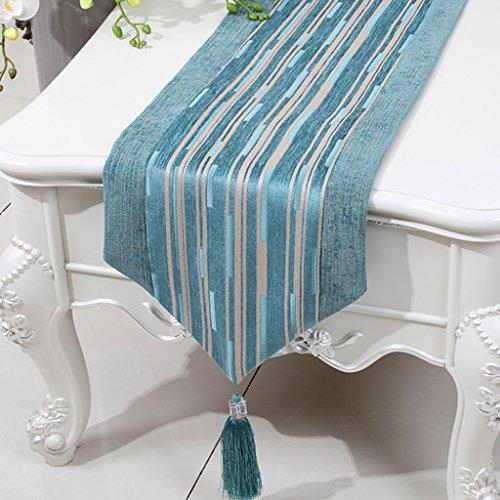ZCJB Chemin de table Chemin De Table Simple Moderne Classique Chenille Stripe Coton Et Lin Table Table Lit Drapeau Table Basse Tapis (Couleur : Le ciel bleu, taille : 33x200cm)