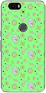 The Racoon Grip printed designer hard back mobile phone case cover for Huawei Nexus 6P. (Neon Cute)