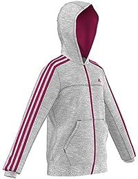 adidas YG ESS FZ Hood - Sudadera para niña, color gris / rosa, talla 140