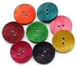 Sadingo Holzknöpfe - 50 Stück - 3 cm - Deko Knopf - Rot Grün Gelb Blau Pink - Große Kinderknöpfe Set zum Basteln Nähen