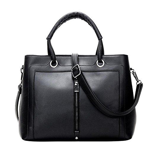 HQYSS Damen-handtaschen Einfache wilde weiche PU-lederne Nubuck-Frauen-Schulter-Kurier-Handtaschen-leichte justierbare Einkaufstasche black