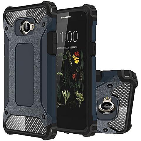 LG K5 Funda, HICASER Híbrida Case [Heavy Duty] Rugged Armor Cover, Dual Layer Shock Resistant Carcasa para LG K5 Dark Azul