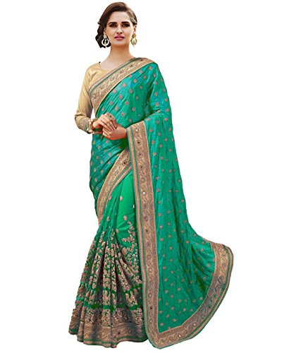 SareeShop Women's Green Silk & Net Embroidery Saree Latest Party Wear Designe...