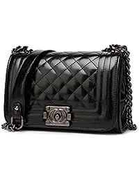 8437cd82c9bb2 S Lady Design Mode Frauen Karriere OL Schwarz Handtasche Plaid Kette Tasche  Fashion Street Damentaschen (