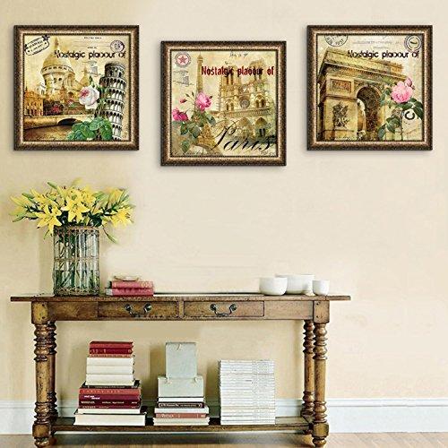 Prints on Canvas Europäische Retro-Architektur PVC-Rahmen Malerei Leinwand Dekoration Wohnzimmer Restaurant Schlafzimmer Leinwand Wasserdicht Ölgemälde Tuch (Mit Rahmen) Packung mit 3 , 40*40
