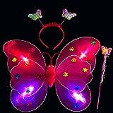Magisches, LED-beleuchtetes 3er-Kostüm- / Spielzeug-Set für Mädchen von Mamun, Schmetterlingsflügel, Stirnband, Zauberstab Einheitsgröße rot