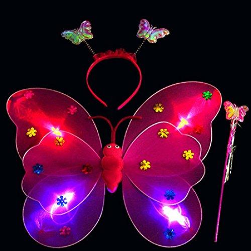 LED Light Schmetterling Flügel Magic Prop Spielzeug, mamum 3/Set Mädchen LED-Blinklicht Fairy Schmetterling Flügel Zauberstab, Haarband Kostüm Spielzeug Einheitsgröße ()