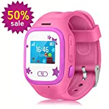 WitMoving Smart Watch Kids, Touch Screen Childrens Smart Watch GPS Tracker Watch Phone Sim Anti-lost SOS Wrist Watch Parent Control By IPhone IOS Android Smartphone for Boys Girls (Pink)
