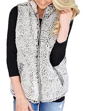 KaloryWee Chaleco de Mujer de Invierno Cálido y Casual de Piel Sintética Outwear - Chaleco para Mujer
