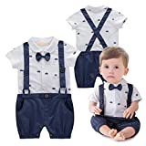 Baby Jungen Bodysuit Tuxedo Gentleman Kurzarm Strampler mit Hosenträger und Bowknot 1pc Blau Etikette 80
