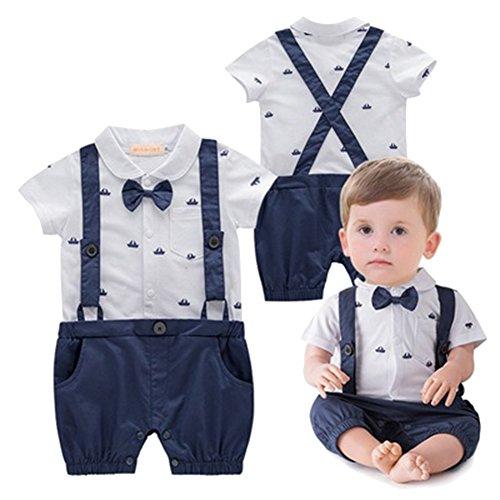 Baby Jungen Bodysuit Tuxedo Gentleman Kurzarm Strampler mit Hosenträger und Bowknot 1pc Blau Etikette - Bodysuit Tuxedo