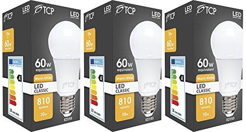 3 x TCP 10w - 60w E27 ES Edison Screw GLS Warm White LED Light Bulb 810lm 2700K -