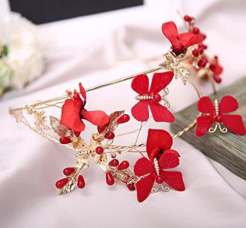&qq Copricapo,copricapo da sposa, banchetti copricapo, rosso filato di seta fascia per capelli farfalla corona, gioielli da sposa, gioielli vestito
