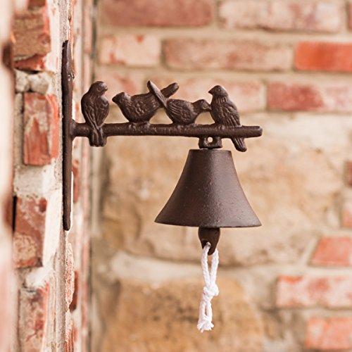Antikas - Glocke für Landhaus, Türglöckchen mit Vögelchen, Gartenglocke mit Vögel