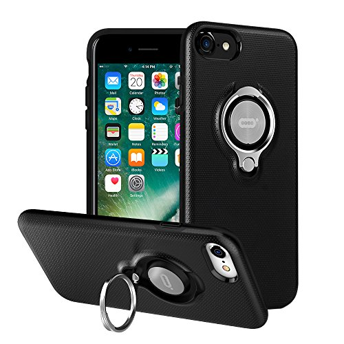 iPhone 7 Hülle, iPhone 8 Tasche mit Ringständer von ICONFLANG, 360 Grad drehbarer Ring Grip Case, Dual Layer Stoßfest Schlagschutz für iPhone 8, iPhone 7, Kompatibel mit Magnetic Car Mount