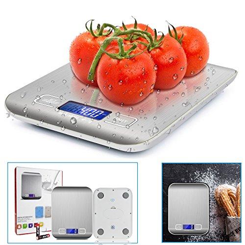 Damigram bilancia da cucina digitale, 5kg/11lb alta precisione professionale acciaio inox lcd display multifunzionale bilancia elettronica con funzione tare per la casa e la cucina