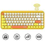 Tastiera Bluetooth Wireless, Simpatica Tastiera compatta Mini a 84 Tasti, Tecnologia di connessione Bluetooth Wireless a 2,4 GHz, Retro keycap Rotondo ABS, Pannello Opaco, Design ergonomico(Giallo)