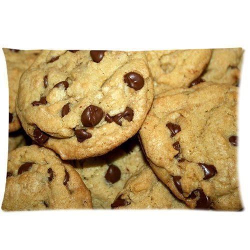 rongxincailiaoke Kissenbezüge Chocolate Delicious Biscuits chip Cookies Sweets Desserts Zippered Pillow Cases Cover 18x30 Inch
