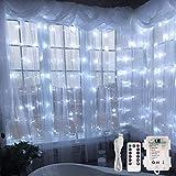 LE Lichterkette USB LED Lichtervorhang, 300 LEDs und 8 Lichtmodi, 3m * 3m Batteriebetrieben, Kaltweiß, ideal für Weihnachten, Hochzeit, Party, Weihnachtsbeleuchtung