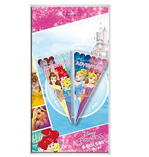 Verbetena, (014000901), Disney Prinzessinnen, Satz von 6 Kegel Taschen Princesas Abenteuer 20x40