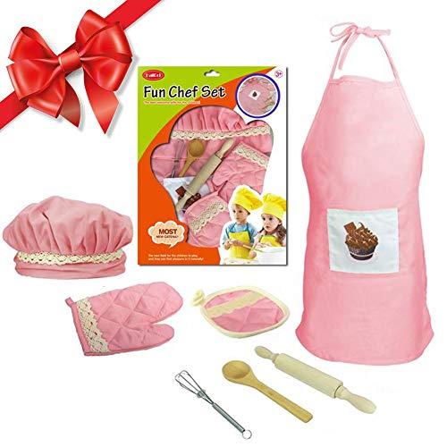 iBaste Chef Kostüm Kinder Kochschürze Set mit Kinder Küchenaccessoires 7er Kochset für Jungen und ()