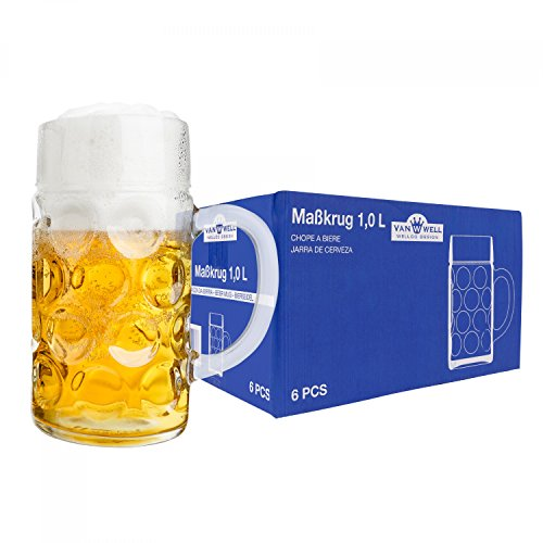 6er Set Maßkrug 'Wellco' - 1 Liter Bierkrug aus Glas - geeicht