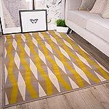 Milan color ocre amarillo mostaza gris beige con formas geométricas en diamante tradicional alfombra de...