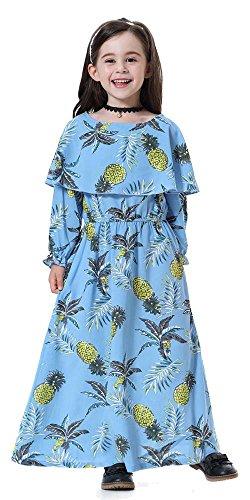 (Ababalaya Islamische Muslimische Mädchen Weich Rundkragen Langarm Lange Maxi Ananas Tropische Kleider Muslim Abayas Kinder,Himmel Blau,Geeignet für Mädchen Höhe 130cm)