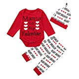 i-uend 2019 Baby 3 STÜCKE Outfits Set, Infant Girl Boy Valentinstag Brief Strampler Print Hosen Hut Outfits Set