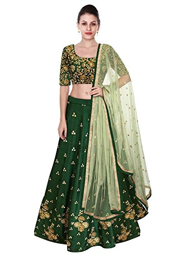 MRS WOMEN Women's Benglori Silk Lehenga Choli (Bird_Green_Semi-Stitched_Lehenga Choli) (green, Free Size)