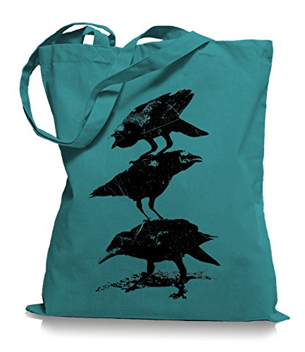 Ma2ca® Crows Krähen - Jutebeutel Stoffbeutel Tragetasche / Bag WM101 Emerald