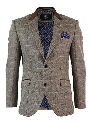 Veste ou gilet homme style tweed à carreaux marron clair beige vintage rétro b874d34e105