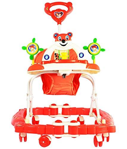 Panda Baby Walker cum Rocker - Height Adjustable, Musical, Push Handle (Red)