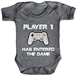 ShirtStreet Geek Nerd Gamer Strampler Bio Baumwoll Baby Body kurzarm Jungen Mädchen Player 1 has entered the Game, Größe: 0-3 Monate,Heather Grey Melange