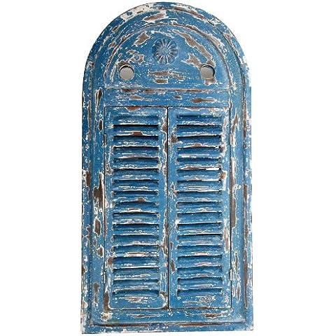 Fallen Fruits - Specchio chic a forma di finestra invecchiata e logora, colore: Blu