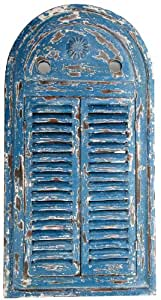 Esschert Design WD13 39 x 5 x 55cm Wood and Glass Mirror Louvre Distressed - Blue