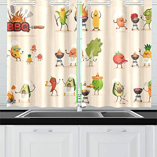 JOCHUAN Grill Obst Gemüse Set BBQ Küche Vorhänge Fenster Vorhang Ebenen für Café, Bad, Wäscherei, Wohnzimmer Schlafzimmer 26 X 39 Zoll 2 Stück