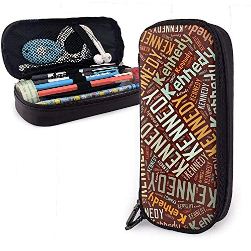 Kennedy - Federmäppchen aus Leder mit großem Fassungsvermögen für amerikanische Familiennamen, Stifthalter für Schreibwaren, großer Aufbewahrungsbeutel, Aufbewahrungsbox -