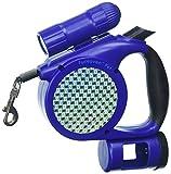 Furhaven Pet Blau Roll-Leine mit LED Taschenlampe und Ablaufgarnitur Spender, 15'