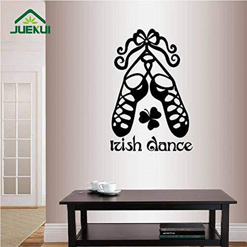 Parole di Danza Irlandese Iscriviti Scarpe Decalcomanie Decorazione murale Camera da Letto Art Decor Vinile Rimovibile Adesivi murali per Soggiorno Rosso 38X57cm