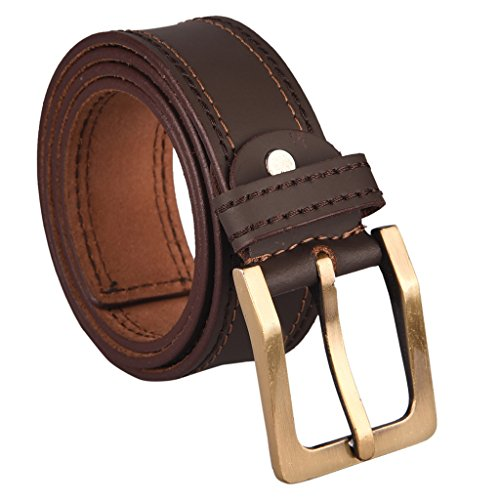B&W Casual Genuine Leather Belt- 40MM - Brown (highlighted stitches)