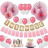 Sweetneed Decorazioni Compleanno Bambina 1 Anno Baby Shower Girl Kit,Collocazione Striscione Ghirlanda e Cappellino Compleanno,Fit Una Bambina di Un Anno Compleanno Decorazione Set (Pink1)