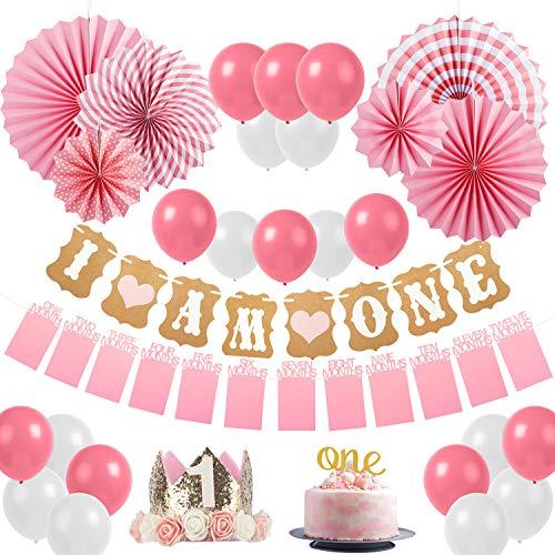 Sweetneed Cumpleaños Rosa Decoracion de Fiestas de 1 año Corona Cumpleaños Papel de Ventilador 1-12...