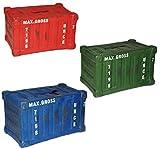 Unbekannt 2 Stück: Spardose -  bunter Container  - stabile Sparbüchse aus Porzellan / Keramik - auch als DEKO ! - Sparschwein - lustig witzig - Überseecontainer / Fra..